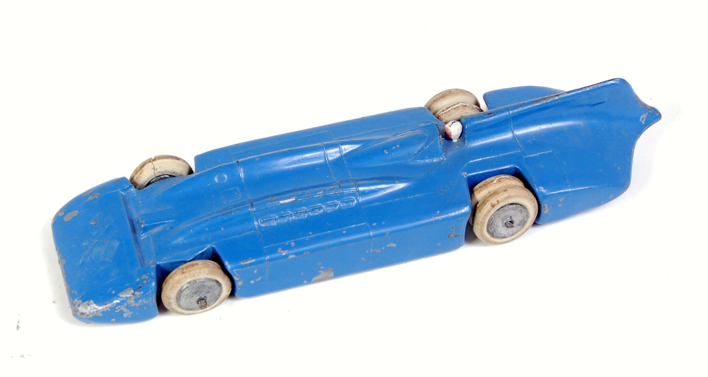 A Britains No. 1400 Blue Bird Speed Record Car comprising of two piece casting with blue body and