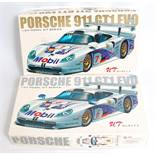 A UT Models of China 1/24 scale Highspeed racing Porsche car kit group, two boxed examples to