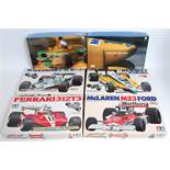 Six various boxed as issued 1/20 and 1.24 scale Tamiya and Wave kits of Japan F1 plastic and resin
