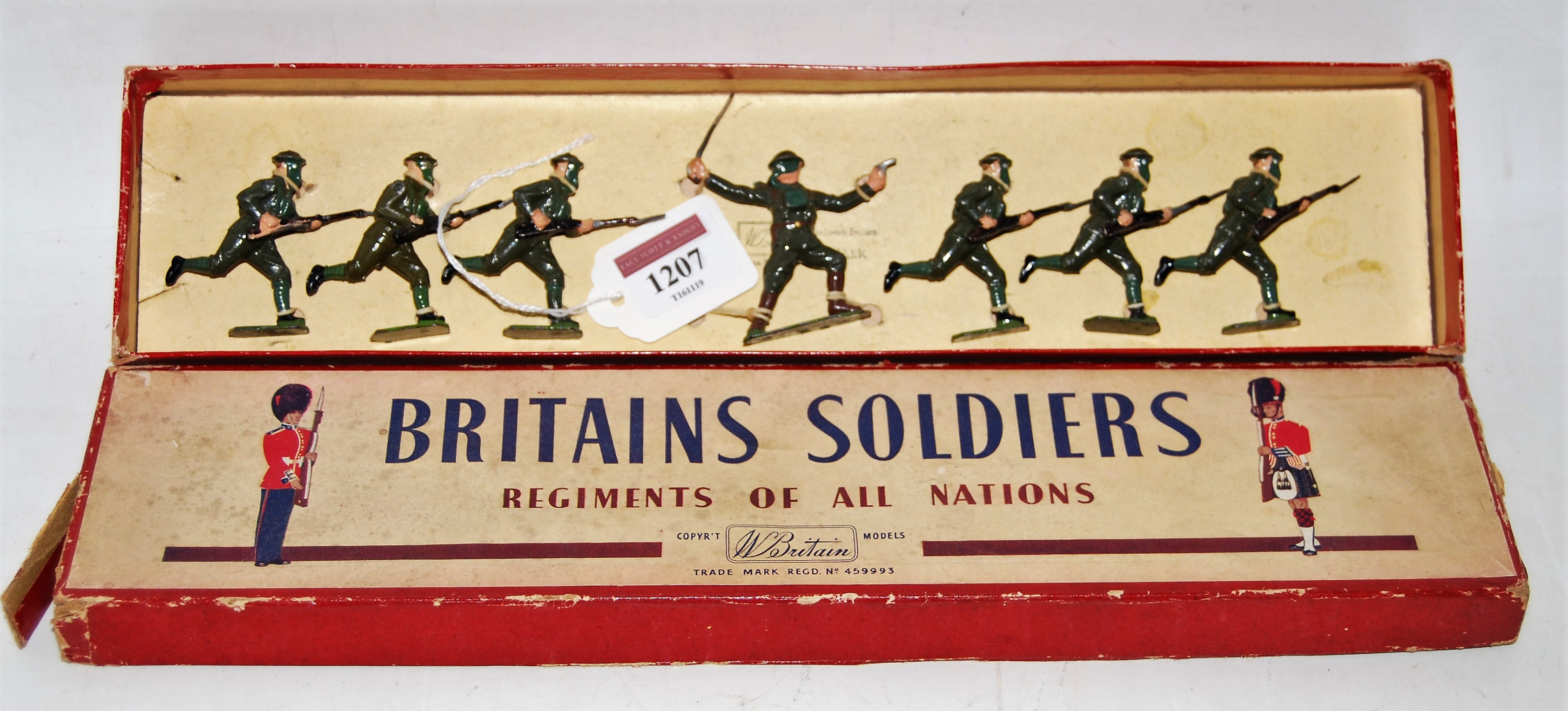 A Britains No. 1613 British Infantry in action comprising of six various charging infantrymen with