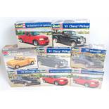 Eight various boxed Revell 1/25 scale Classic Car and 4x4 kits all appear as issued, some duplicates