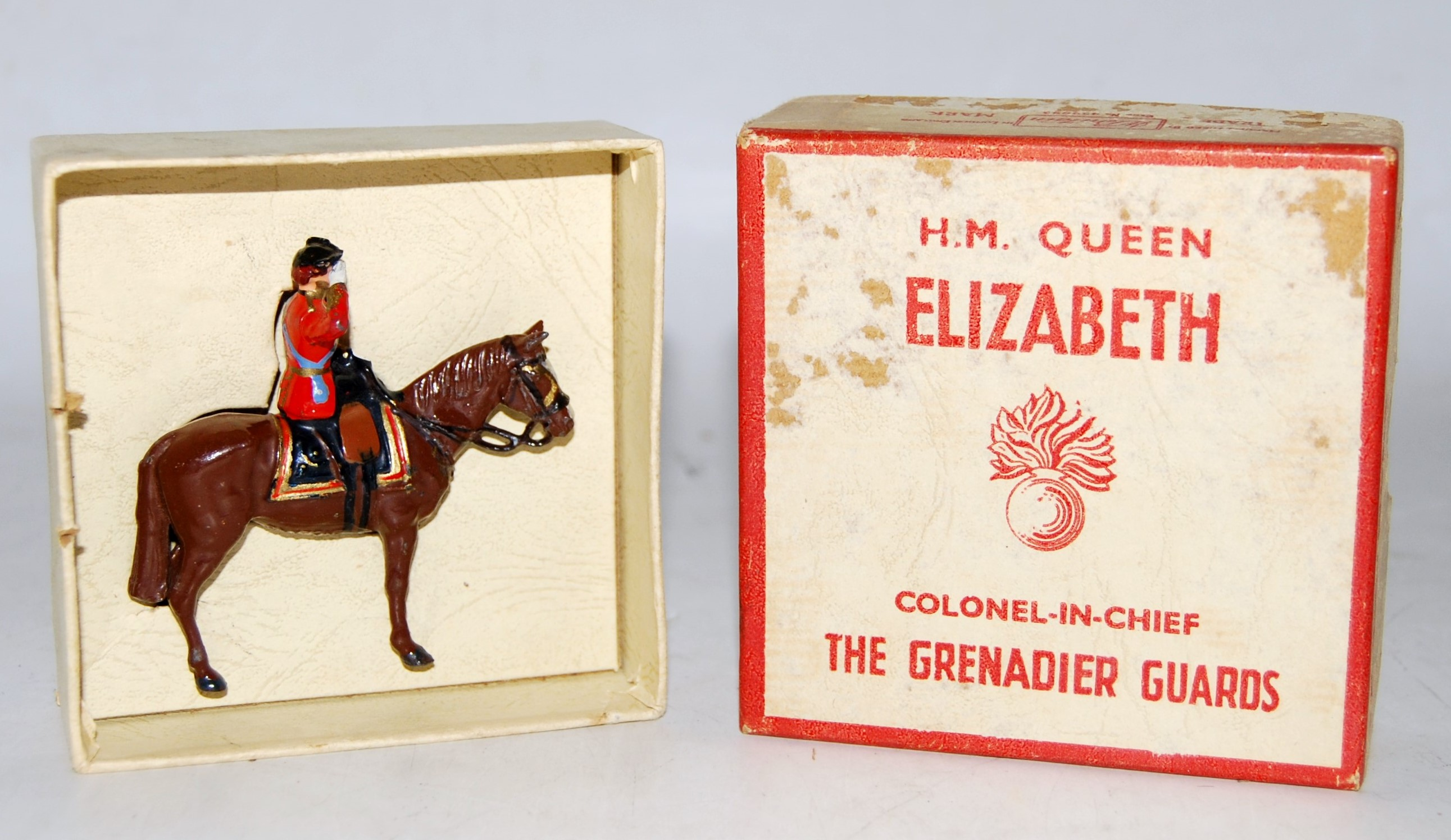 A Britains No. 2065 HM Queen Elizabeth The Grenadier Guards mounted side saddle, single issue figure