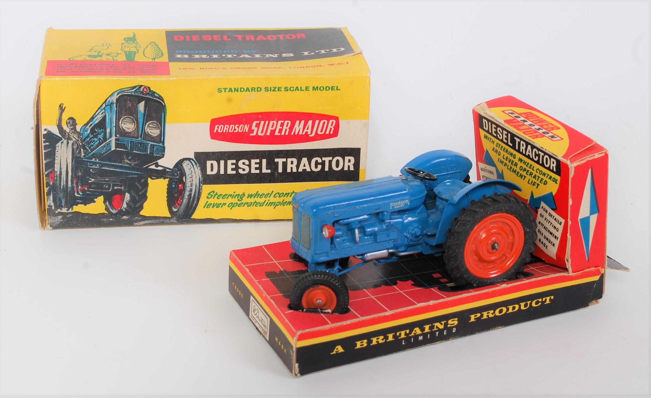 A Britains No. 172F Fordson Supermajor diesel tractor comprising of blue body with orange diecast