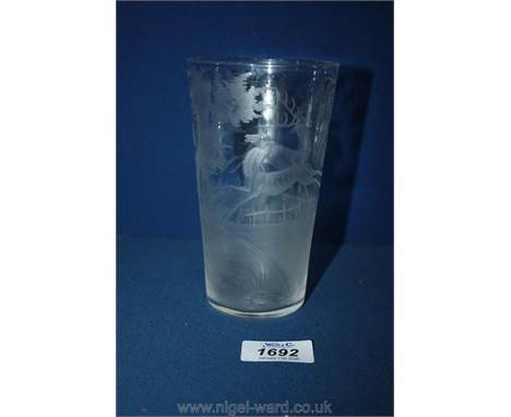 A mid 19th century hunting goblet in the manner of Lobmeyr, engraved with running stags.
