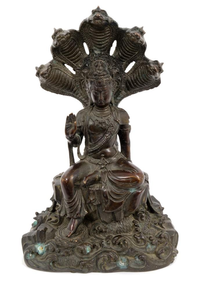 Lot 710 - Antique Cambodian bronze Naga Buddha