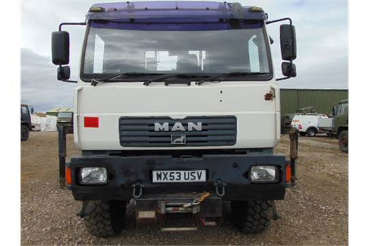 Lot 12 - Man LE18.220 4x4 Dropside complete with Atlas 120.2E Crane and H14P SuperWinch