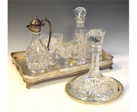 Good quality cut glass silver-plated carafe, two ships decanters, table glass and two silver-plated trays