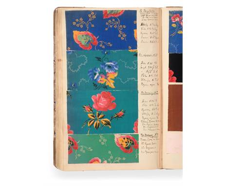 Russian Fabric Sample Book, early 20th century Enclosing colourful printed cottons in a variety of designs including floral,