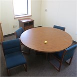 60 INCH WALNUT LAMINATE TABLE & (4) UPH SIDE CHAIRS W/ COFFEE CAB