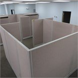 (4) 96 x 104 (APPROX ACOUSTICAL PANEL WORKSTATIONS W/ WORK SURFACES, O/H SHELVES & PEDESTALS