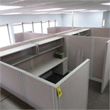 (4) 90 X 120 (APPROX) ACOUSTICAL PANEL WORKSTATIONS W/ WORK SURFACES, O/H SHELVES & PEDESTALS