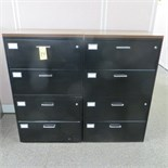 (2) 30 INCH 4-DRAWER LATERAL FILE CABINETS W/ LAMINATE TOP
