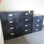 (2) 30 INCH 4-DRAWER & (1) 30 INCH 3-DRAWER LATERAL FILE CABINETS W/ LAMINATE TOP