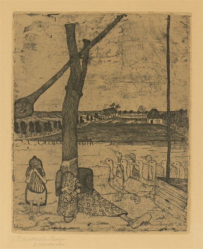 "Paula Modersohn-Becker (Dresden 1876 – 1907 Worpswede)""Die Frau mit der Gans"". 19"