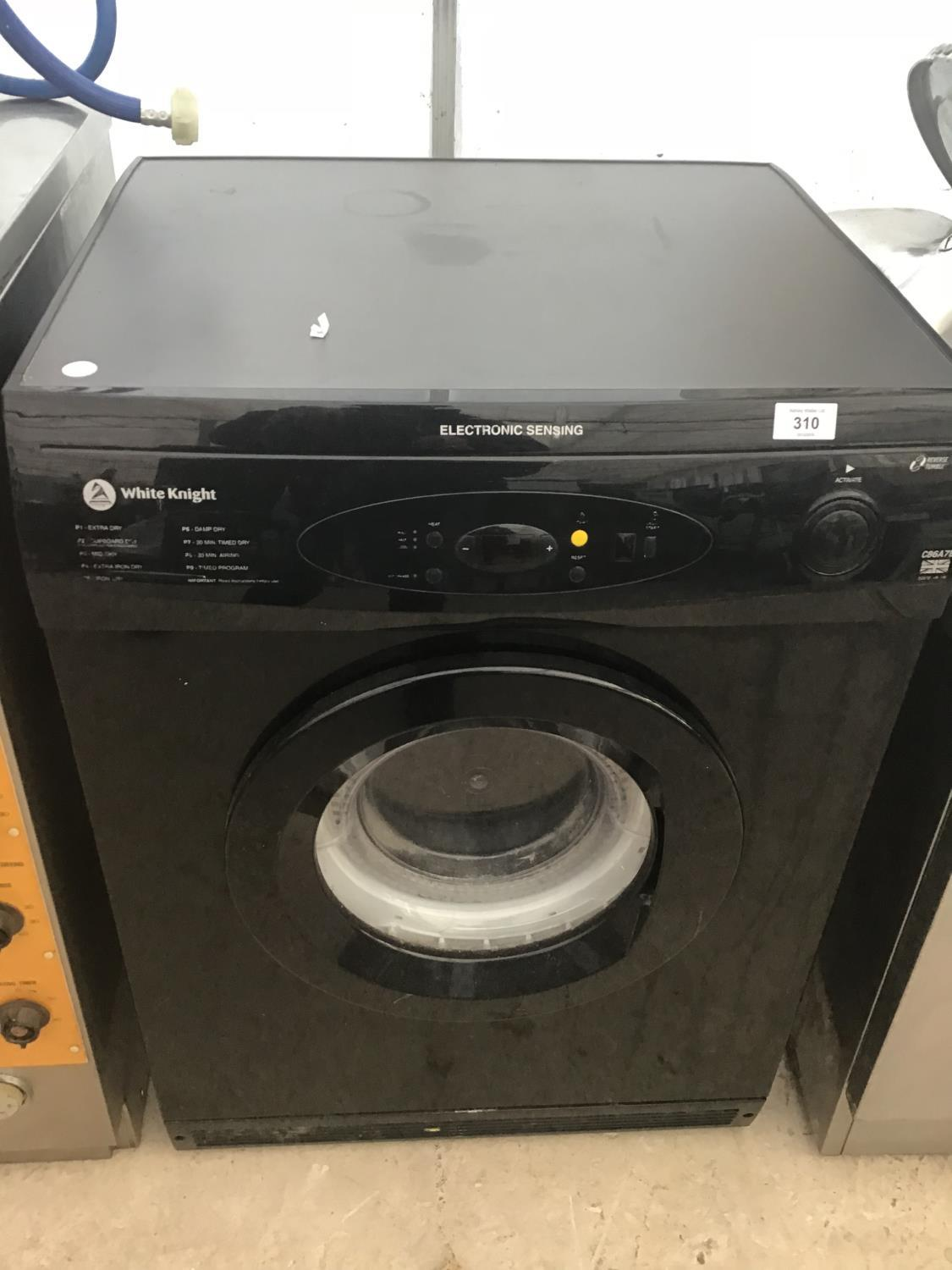 Lot 310 - A WHITE KNIGHT BLACK TUMBLE DRYER IN WORKING ORDER