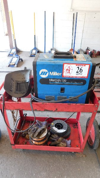 Lot 26 - Miller Millermatic 130 Welder, w/cart, wire, face mask