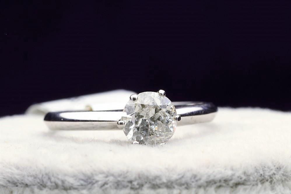 18k White Gold Single Stone Prong Set Diamond Ring 0.70
