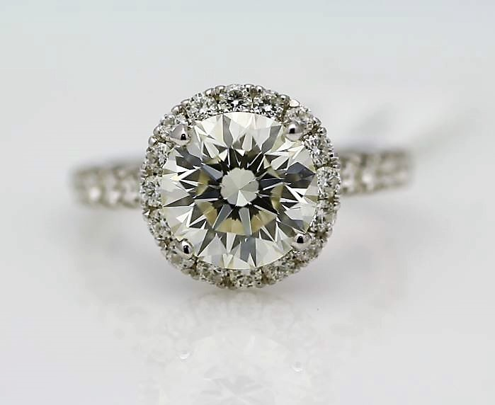 18k White Gold Single Stone With Halo Setting Ring 3.85