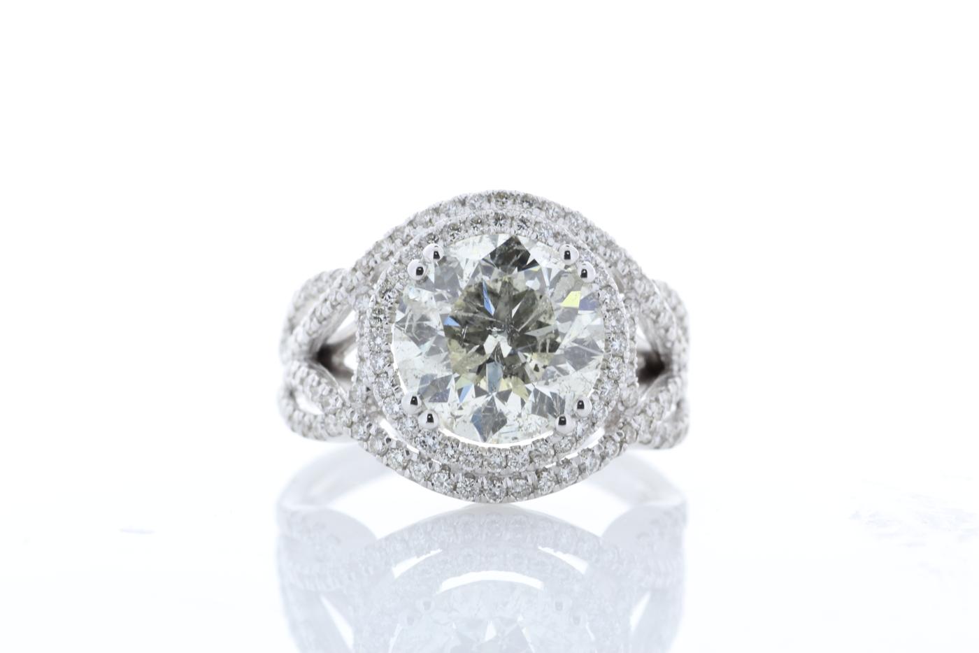 18k White Gold Single Stone With Halo Setting Ring 5.17 - Image 2 of 5
