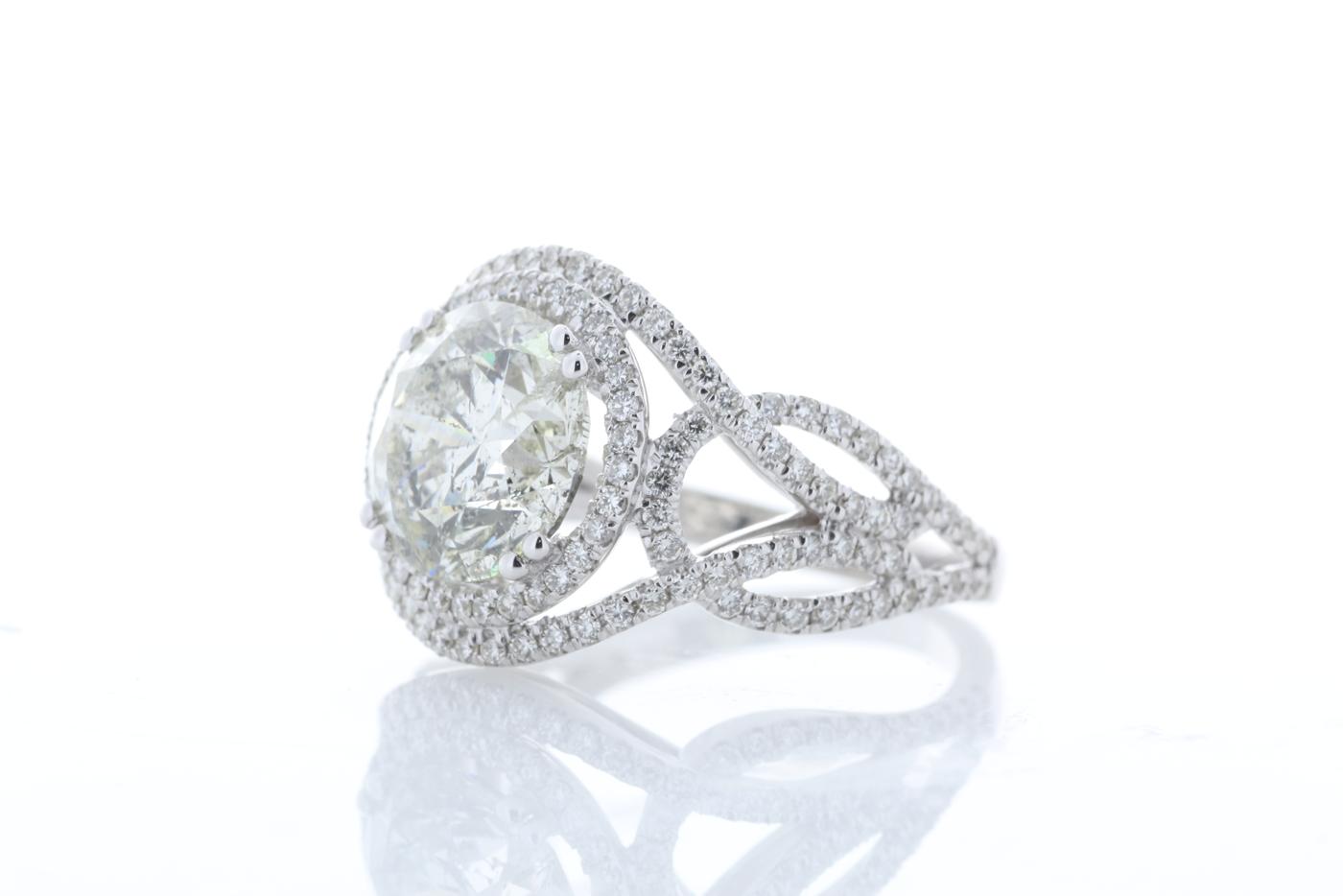 18k White Gold Single Stone With Halo Setting Ring 5.17