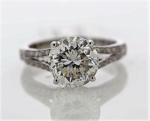 18k White Gold Single Stone Prong Set With Stone Set Shoulders Diamond Ring 3.57 - Image 2 of 3