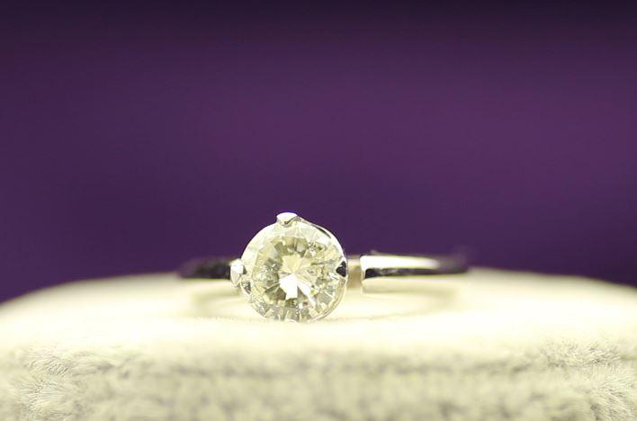 18k White Gold Single Stone Prong Set Diamond Ring 1.20