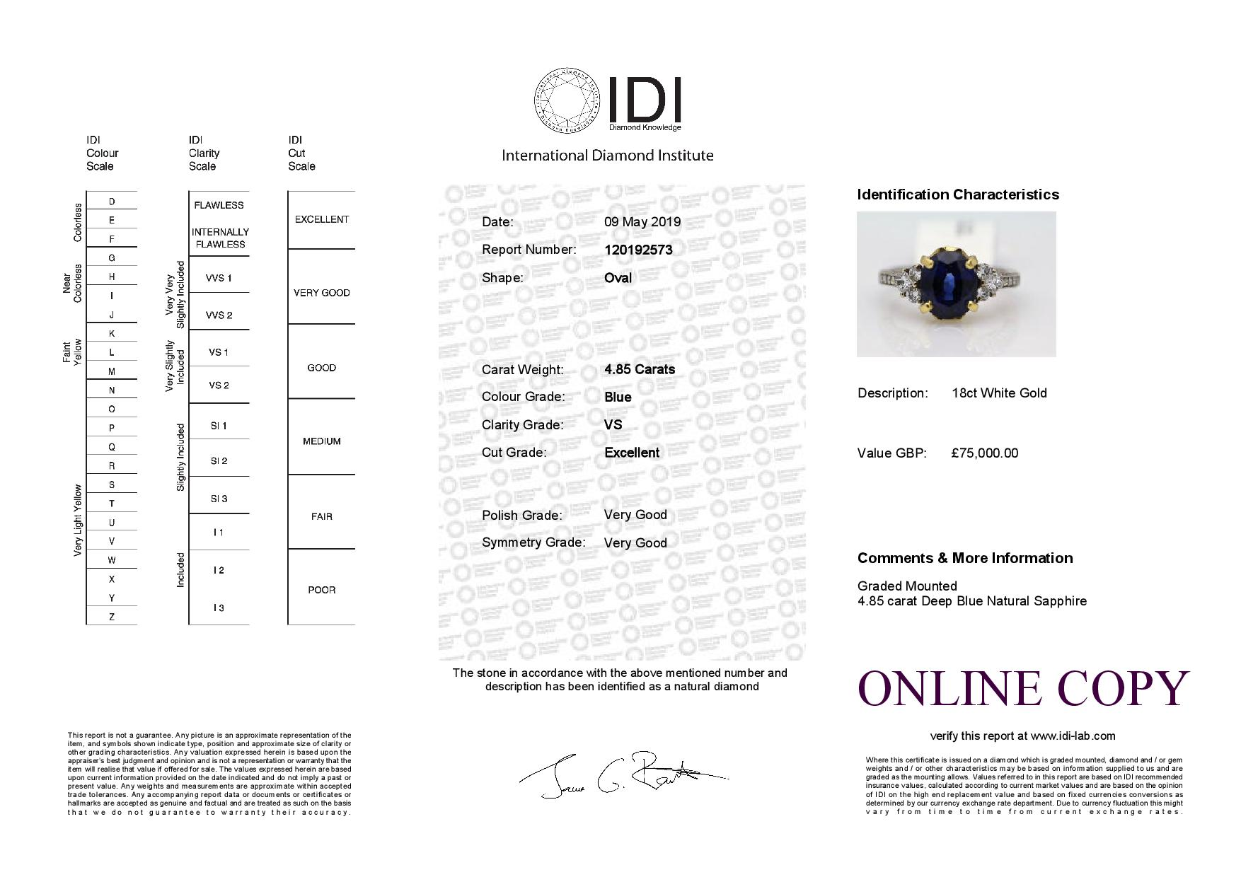 18k White Gold Three Stone Claw Set Diamond And Sapphire Ring 4.85 - Image 3 of 3