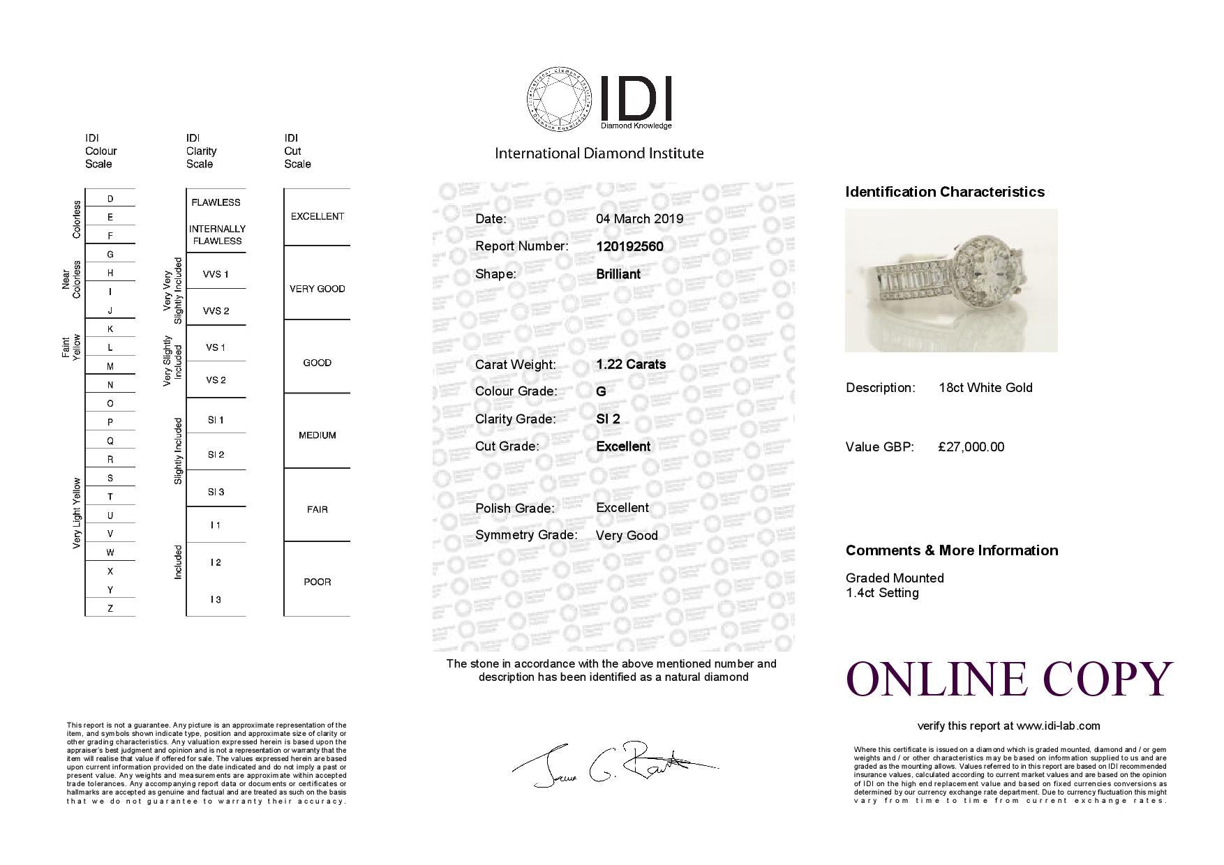 18k White Gold Single Stone With Halo Setting Ring 2.62 - Image 4 of 4