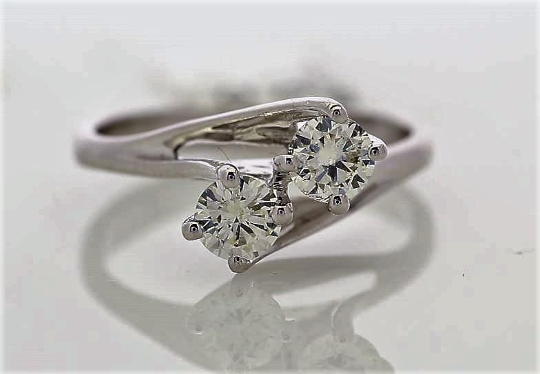 18k White Gold Two Stone Claw Set Diamond Ring 0.72