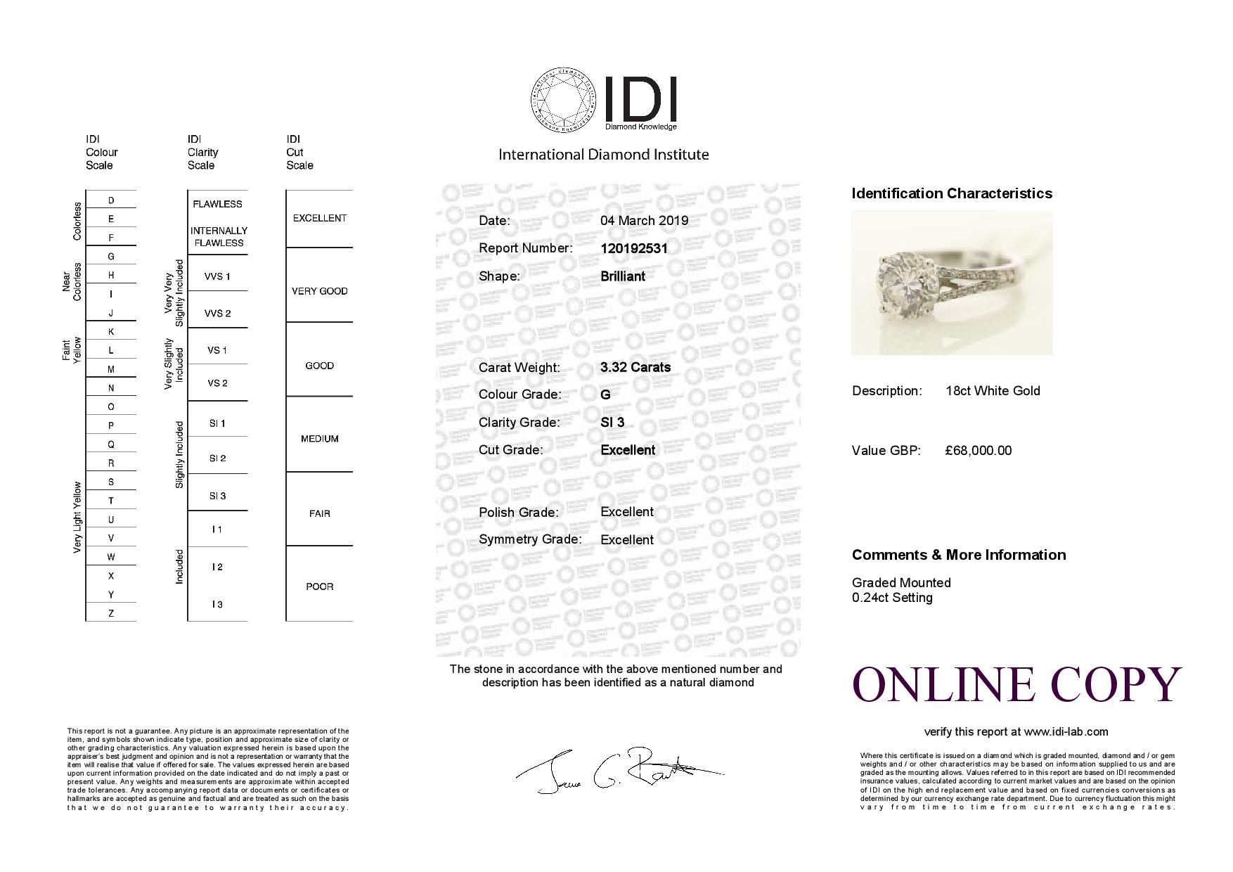 18k White Gold Single Stone Prong Set With Stone Set Shoulders Diamond Ring 3.57 - Image 3 of 3