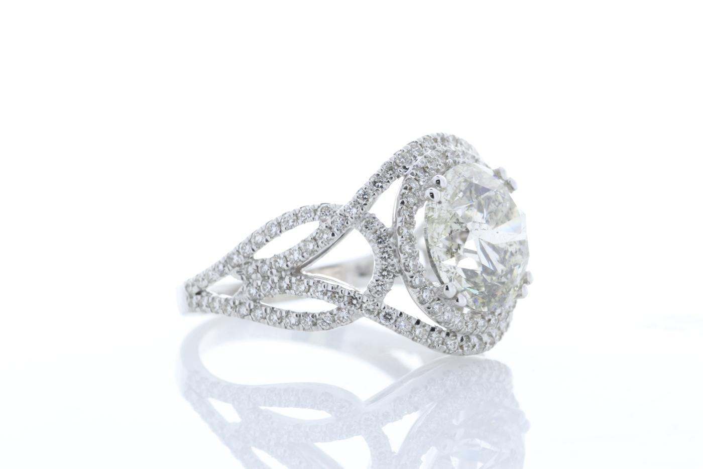 18k White Gold Single Stone With Halo Setting Ring 5.17 - Image 4 of 5