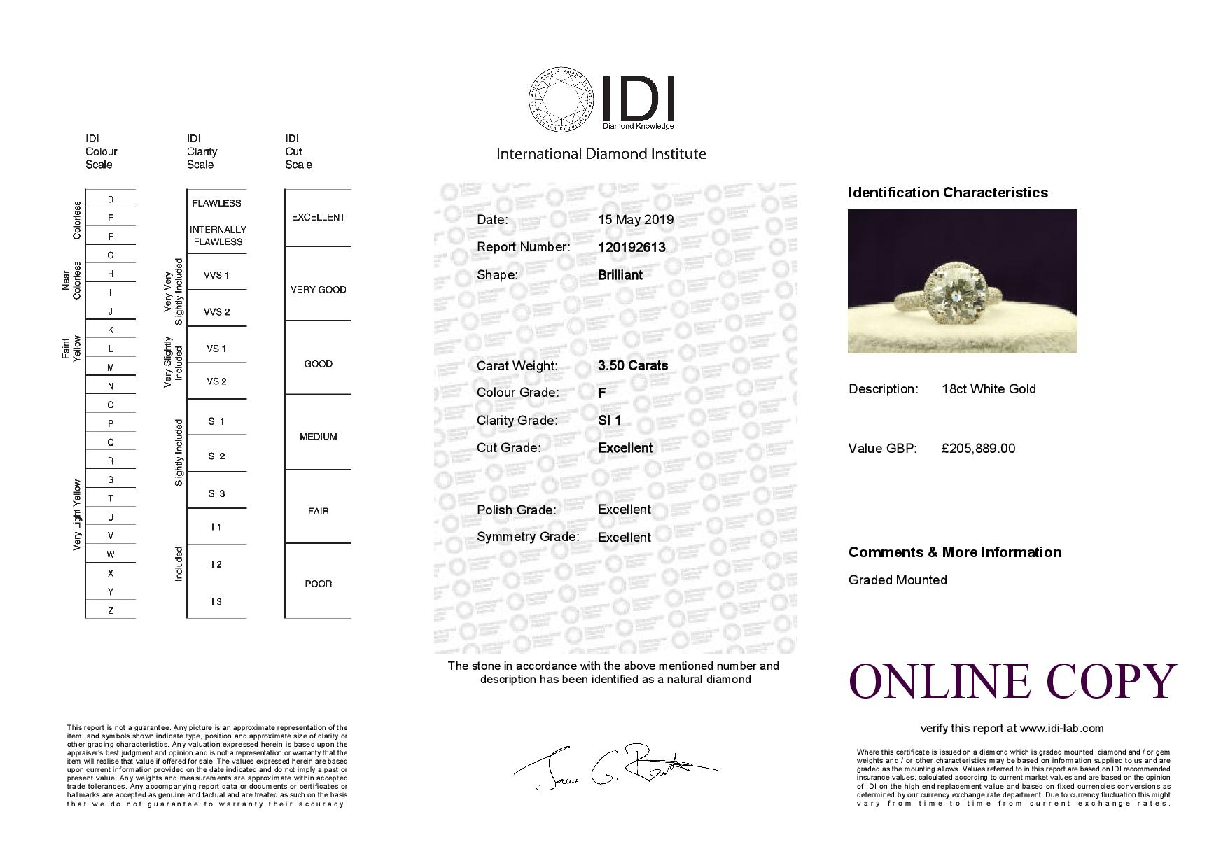 18k White Gold Single Stone With Halo Setting Ring 4.60 - Image 5 of 5