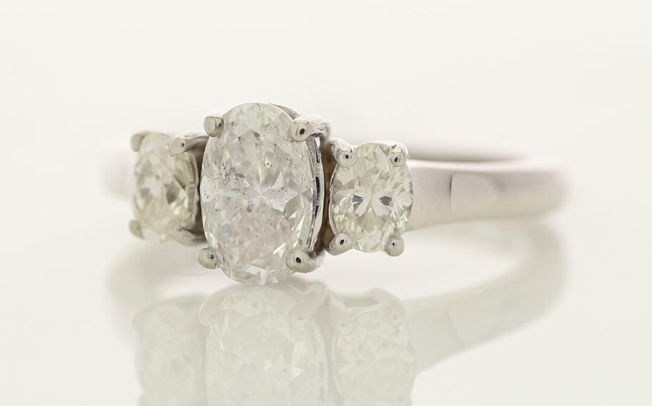 18k White Gold Three Stone Oval Cut Diamond Ring 1.55
