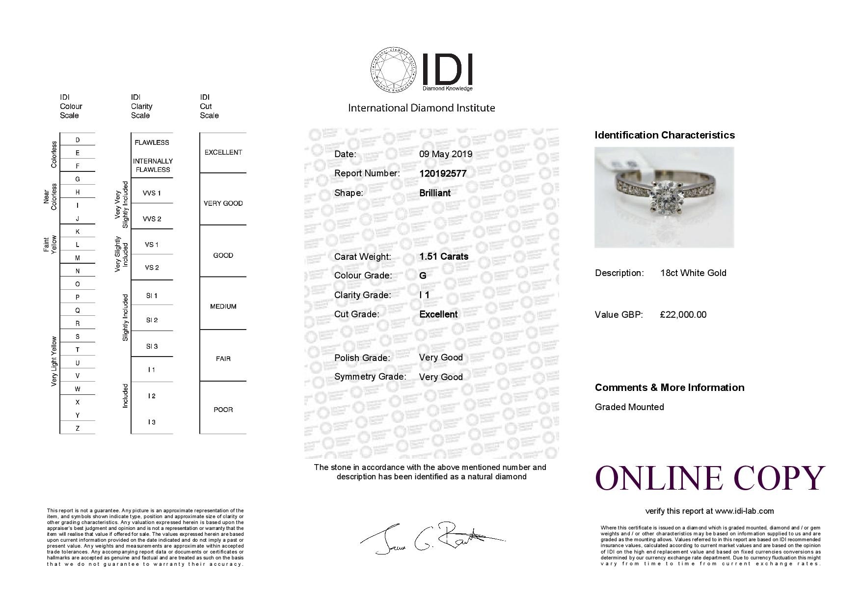 18k White Gold Single Stone Prong Set With Stone Set Shoulders Diamond Ring 1.82 - Image 3 of 3
