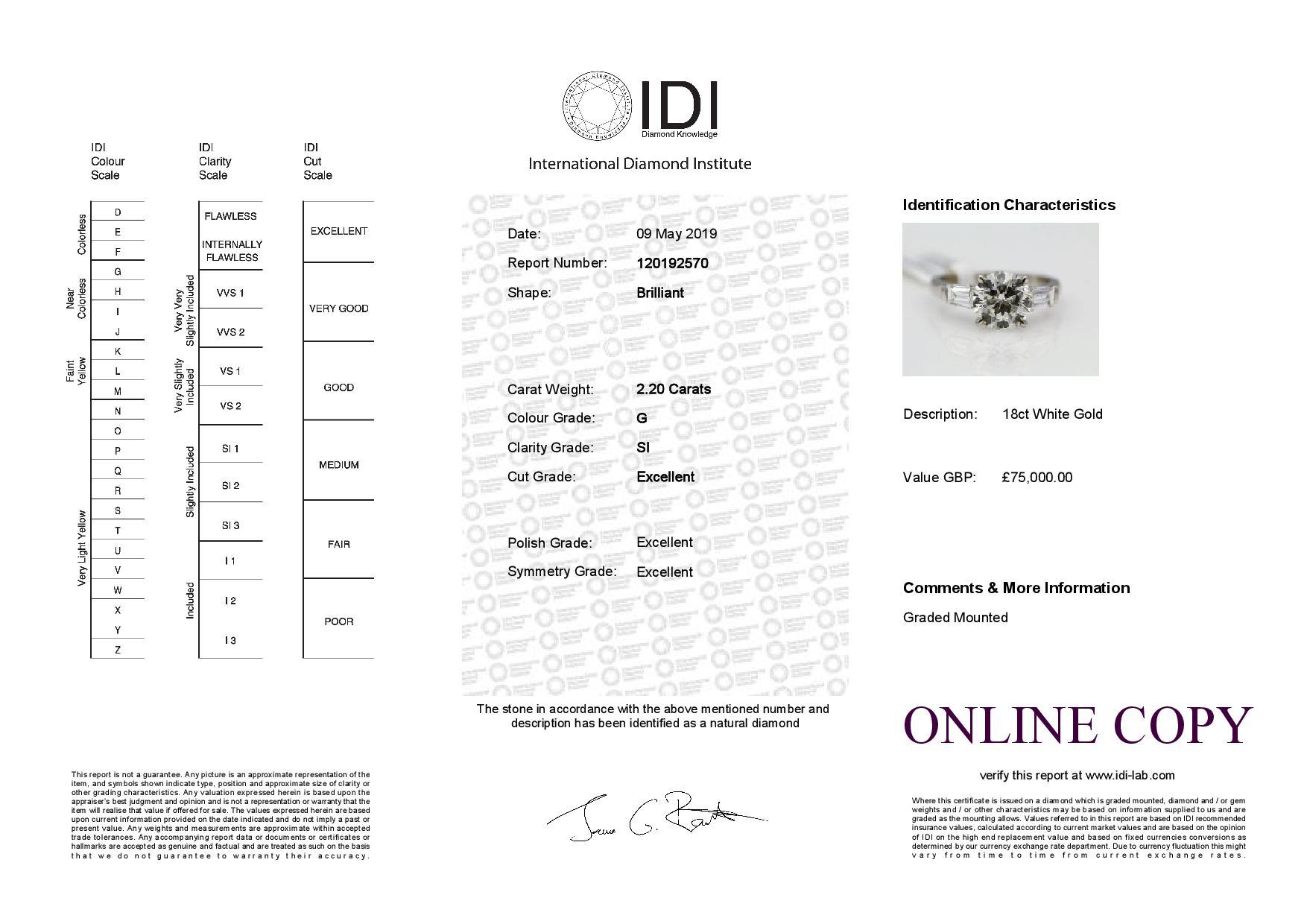 18k White Gold Single Stone Prong Set With Stone Set Shoulders Diamond Ring 2.85 - Image 3 of 3