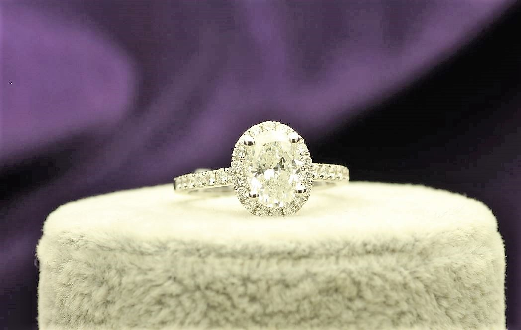 18k White Gold Single Stone With Halo Setting Ring 1.95