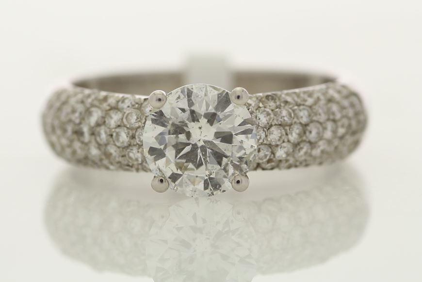 18k White Gold Single Stone Prong Set With Stone Set Shoulders Diamond Ring 1.78