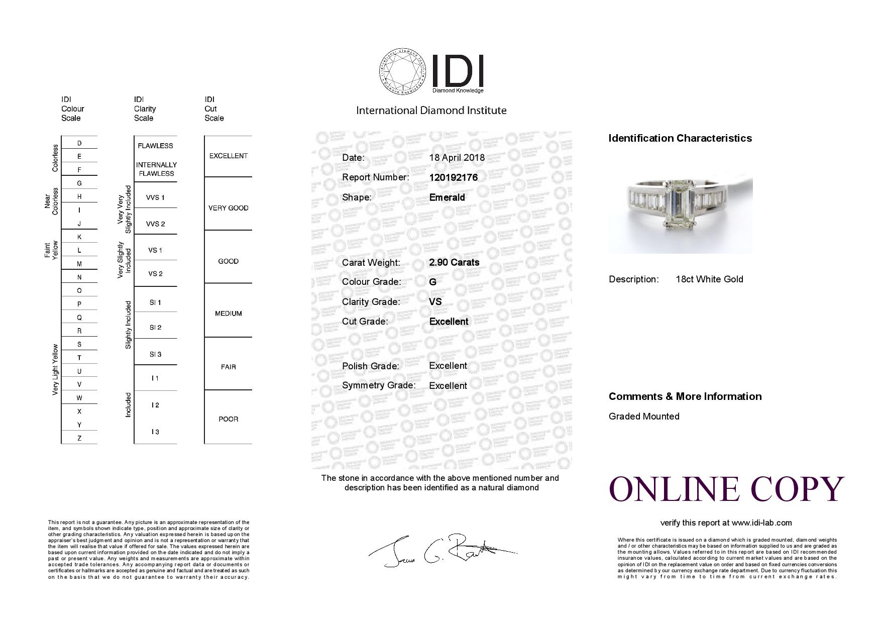 18k White Gold Single Stone Claw Set Emerald Cut With Stone Set Shoulders Diamond Ring (2.05) 2.90 - Image 3 of 3