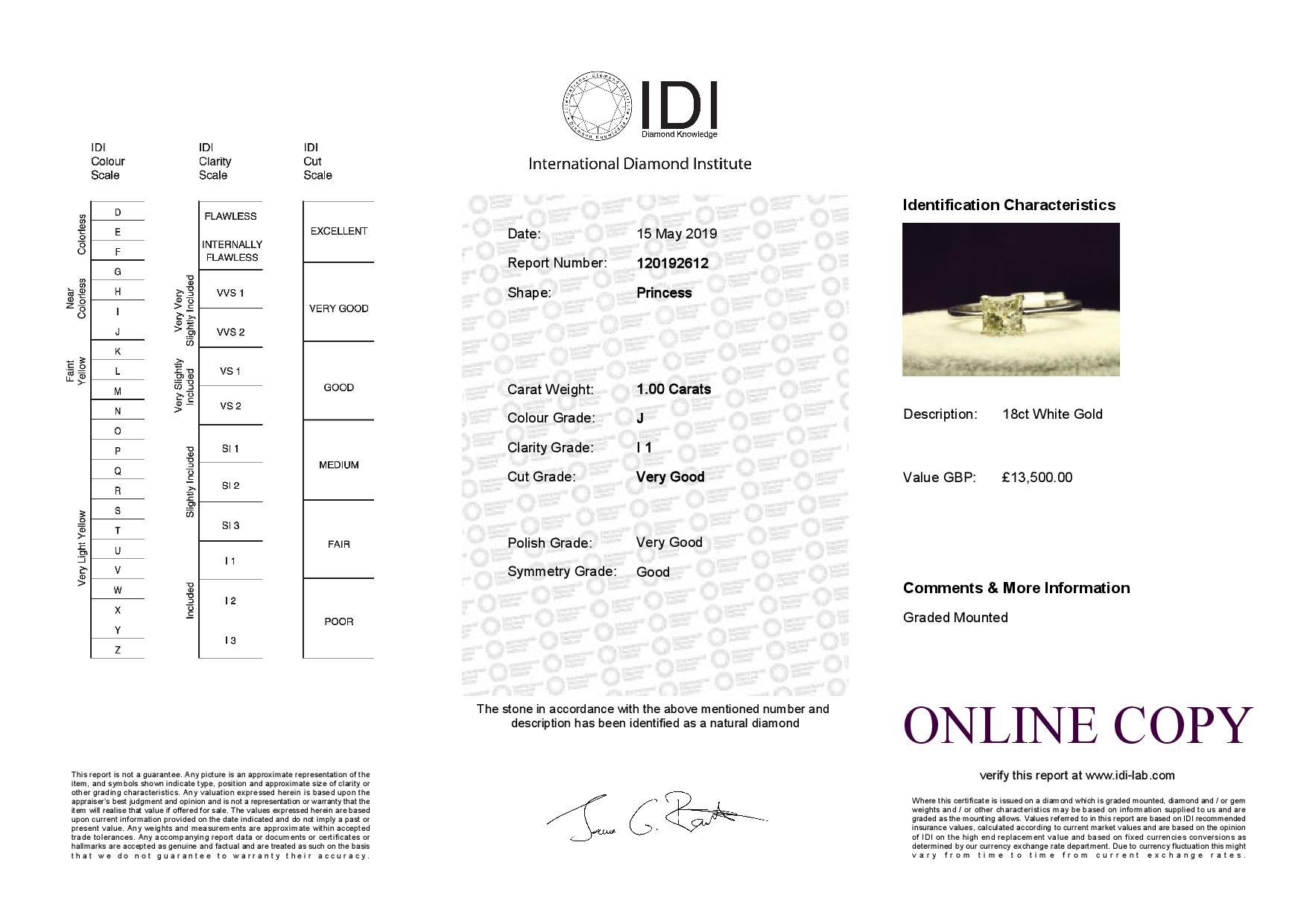 18k White Gold Single Stone Prong Set Diamond Ring 1.00 - Image 4 of 4