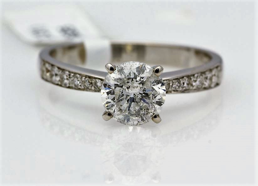 18k White Gold Single Stone Prong Set With Stone Set Shoulders Diamond Ring 1.82
