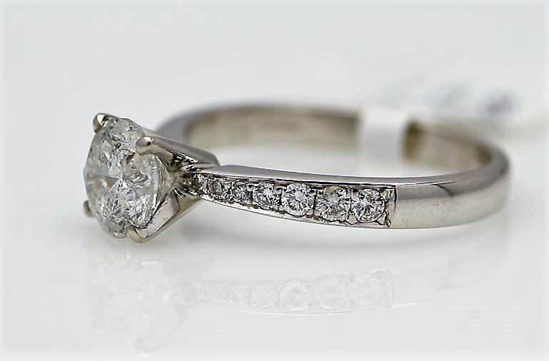 18k White Gold Single Stone Prong Set With Stone Set Shoulders Diamond Ring 1.82 - Image 2 of 3