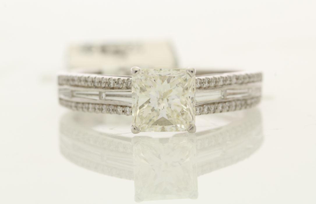18k White Gold Single Stone Prong Set With Stone Set Shoulders Diamond Ring 1.35