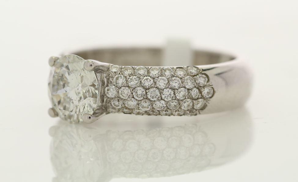 18k White Gold Single Stone Prong Set With Stone Set Shoulders Diamond Ring 1.78 - Image 2 of 3