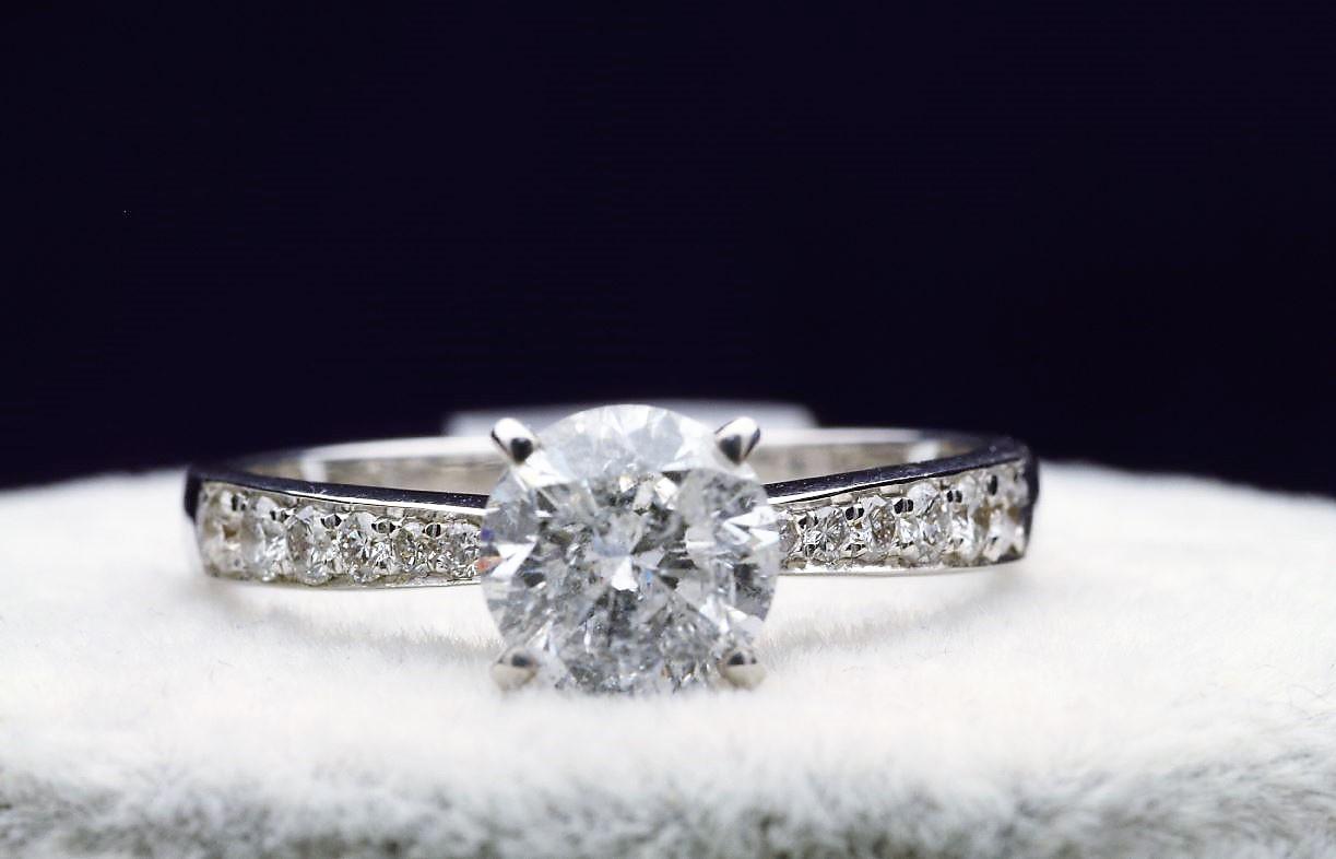 18k White Gold Single Stone Prong Set With Stone Set Shoulders Diamond Ring 1.82