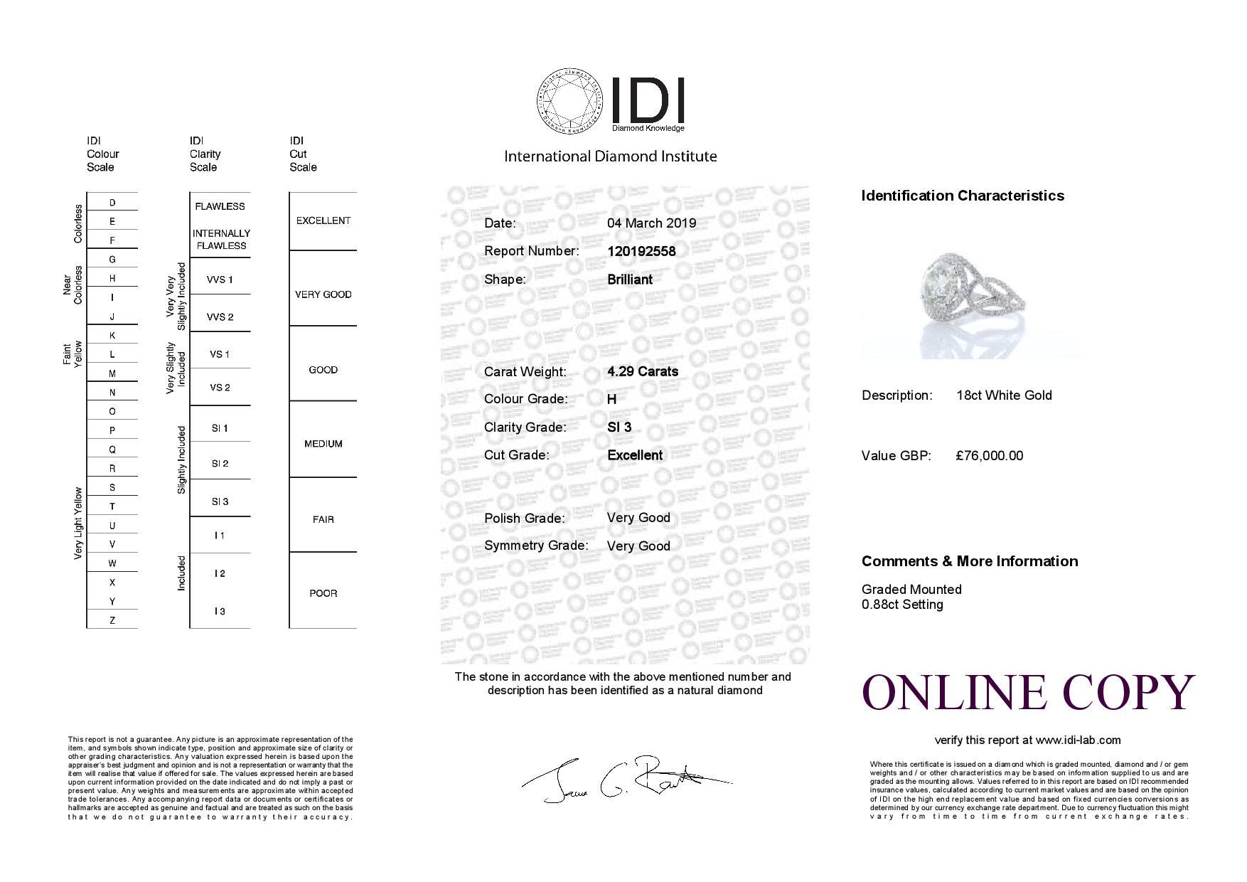 18k White Gold Single Stone With Halo Setting Ring 5.17 - Image 5 of 5