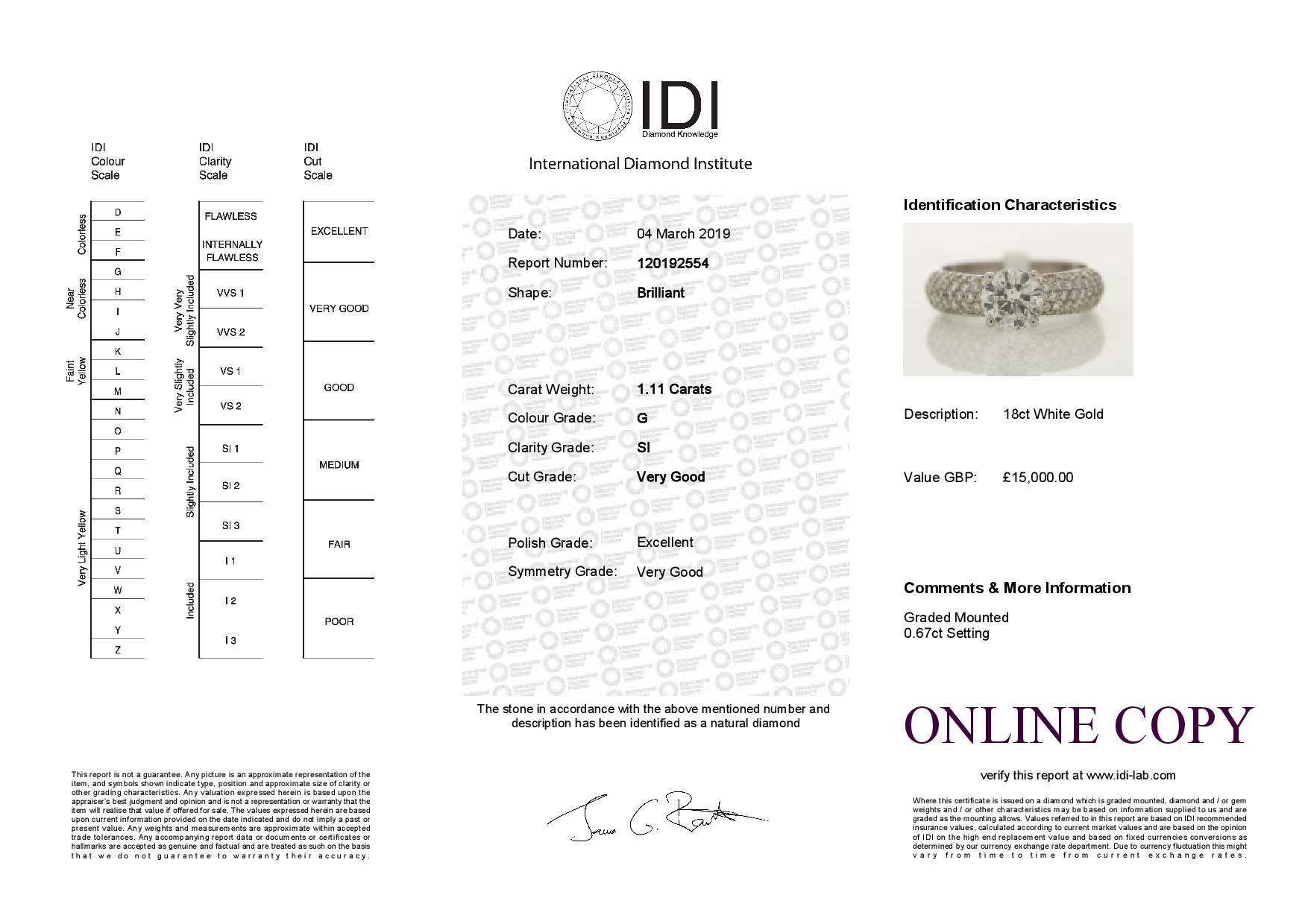 18k White Gold Single Stone Prong Set With Stone Set Shoulders Diamond Ring 1.78 - Image 3 of 3
