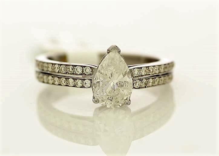 18k White Gold Single Stone Prong Set With Stone Set Shoulders Diamond Ring 1.59