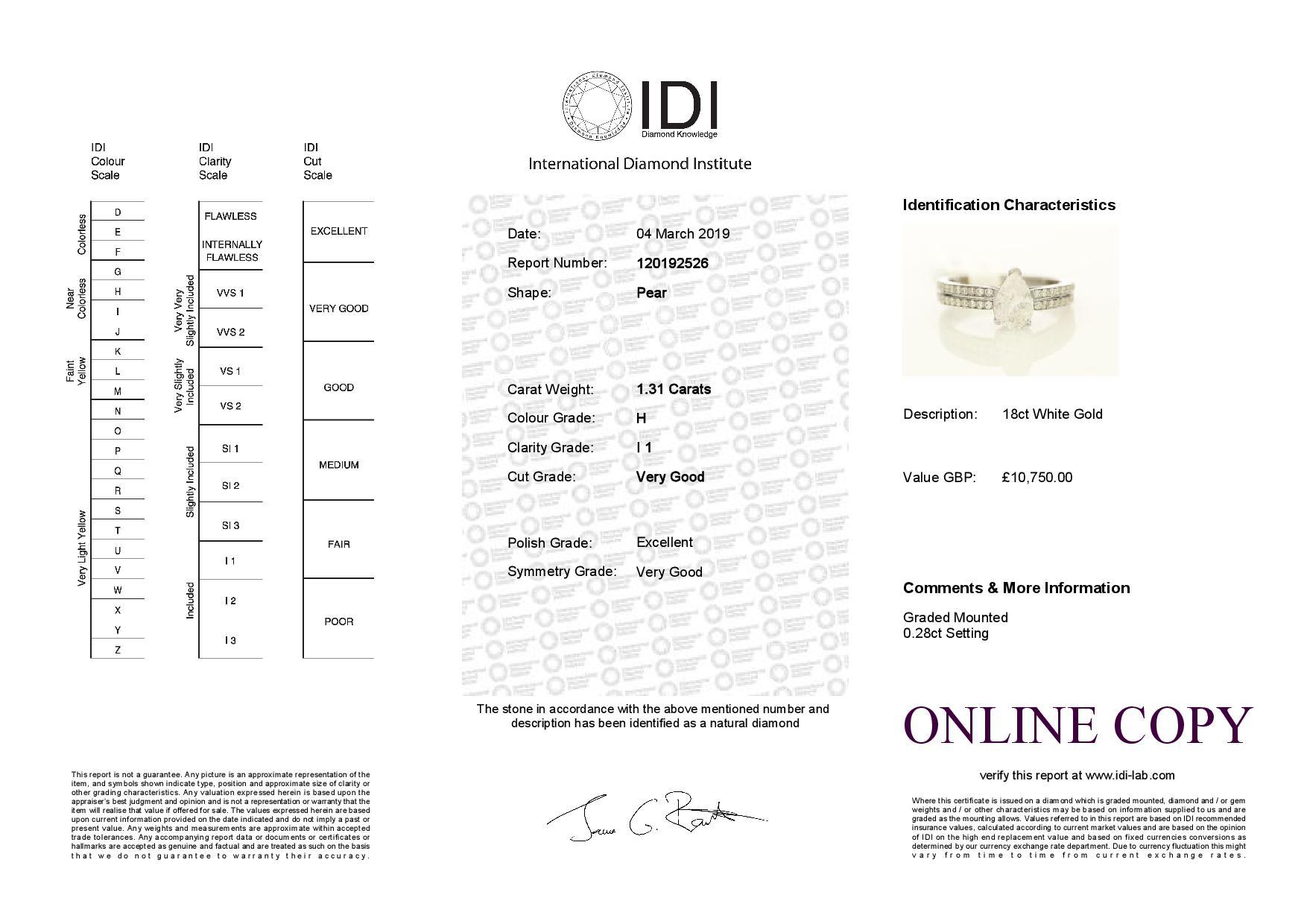 18k White Gold Single Stone Prong Set With Stone Set Shoulders Diamond Ring 1.59 - Image 3 of 3
