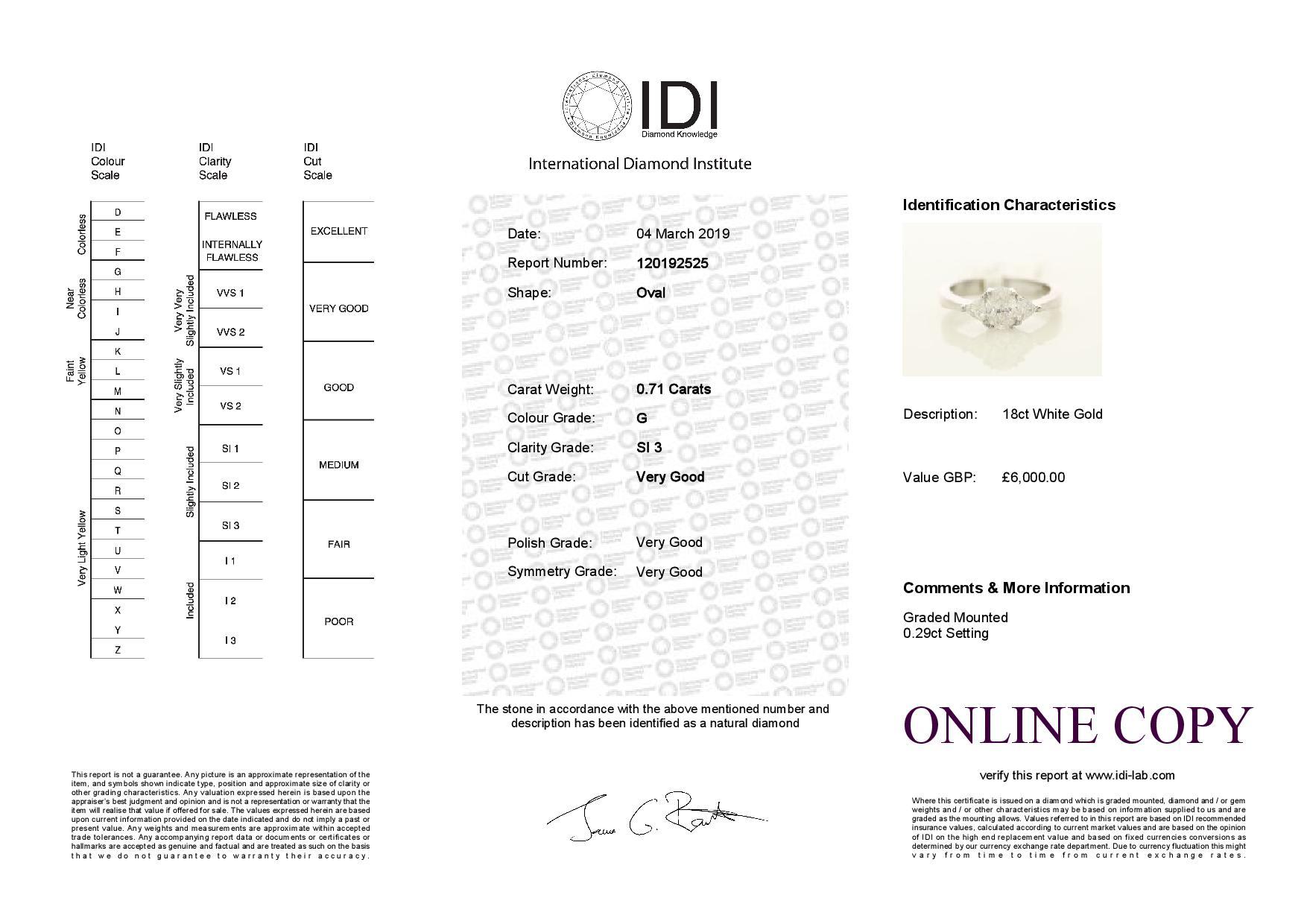 18k White Gold Three Stone Claw Set Diamond Ring 1.00 - Image 3 of 3