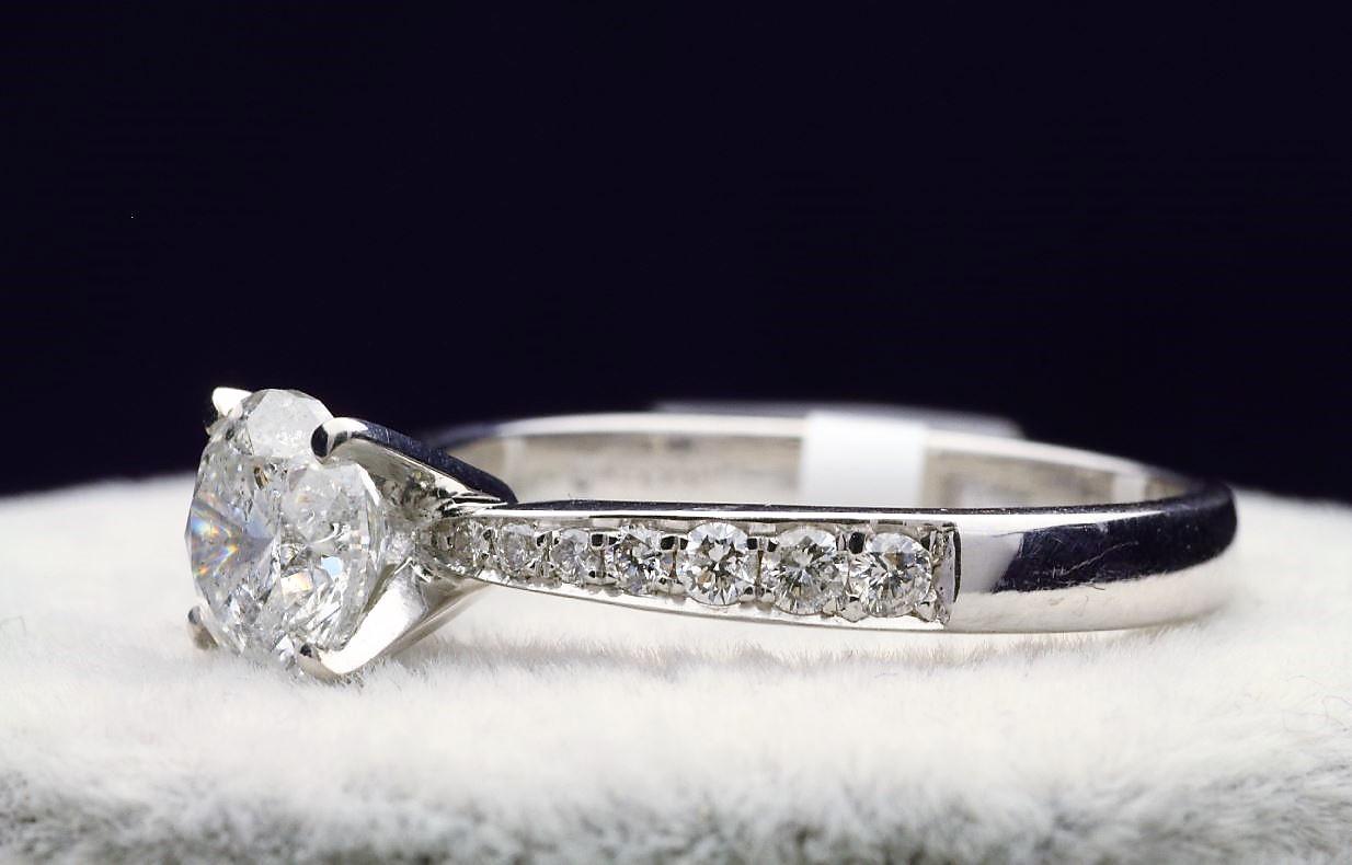 18k White Gold Single Stone Prong Set With Stone Set Shoulders Diamond Ring 1.82 - Image 2 of 4